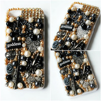 PARIS GODDESS iPhone 5 Case // Silver // Fleur de Lis Paris Eiffel Tower France Fancy Victorian Girly Black and White Crown Pearl // Lolita