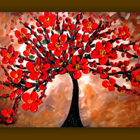 Red Flower Painting Red Tree Painting by DistinctiveModernArt