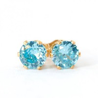 Aqua Blue CZ Gold Filled Post Pierced Earrings Handmade | SusanSheehan - Jewelry on ArtFire