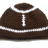 brown and white crocheted football beanie by mylittlebows on Etsy