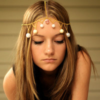 Gold Chain Head Piece with Pink Crystal by NativeLivingJewelry