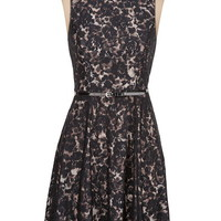 Sleeveless belted lace dress