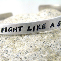 Fight Like a Girl - Hand Stamped Bracelet | foxwise