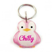 Pink Penguin Pet ID for Cats and Dogs - Happy Tags