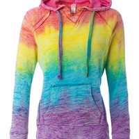 Rainbow Burnout Pull Over Hoodie