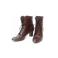 Size 9 Vintage Ankle Boots// 80s Leather Boots// Chocolala Brown Boots// Austria