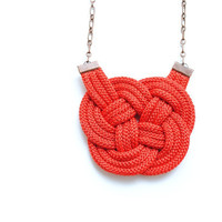 FREE SHIPPING  Red Knot Cord Necklace