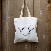 Hand ScreenPrinted Tote  Antler Print by ZoraBelle