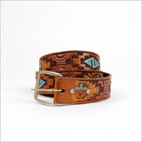 southwest sun god tan &amp; turquoise leather belt l by OmniaVTG