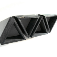 Triangle Wall Shelf Set of 4 Shelves Black Triangular by Junglai