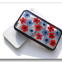 Handmade iPhone 4/4S case, Resin with Real Flowers, Black (Matte)