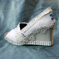 Custom Wedding TOMS Wedges --  Wild Flower Wedge design