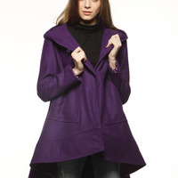 Casual and Loose Fitting Bohemia Wool Winter Cape Coat for Women In Purple- NC474