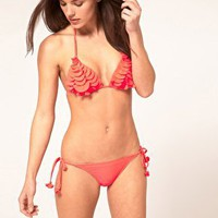River Island 3D Ruffle Bikini Top Neon Coral at ASOS
