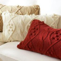 Bobble-Knit Lumbar Pillow Cover