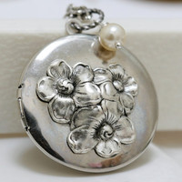 Cherry BlossomLocketSilver LocketAntique by emmagemshop on Etsy