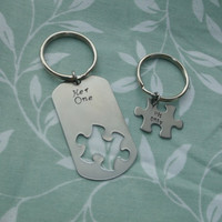 Puzzle Dog Tag/Puzzle Piece key chain set - her one his only
