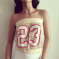 New Womens Teens Vintage Beige Number 23 Jersey Tube Top Free Shipping