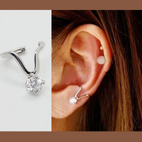 Yes Diamond Ear Cuff (Silver,Single, No Piercing) | LilyFair Jewelry