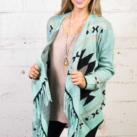 Women's Mint Colored Tribal Print Sweater | Fringe and Lace
