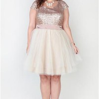 Plus Size Dress with Sequin Cap Sleeve Bodice and Full Tulle Skirt