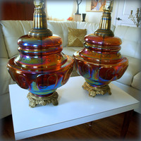 COLOSSAL VINTAGE LAMP / 1960s Carnival Glass Table Lamps  / Gypsy Home Decor / Hollywood Regency Lighting / Bohemian Glassware / Boho Chic