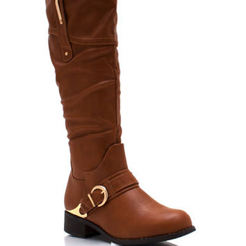 Metallic-Accent-Harness-Boots BLACK COGNAC - GoJane.com