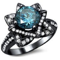 2.03ct Blue Round Diamond Lotus Flower Engagement Ring 14k Black Gold With a 1.08ct Center Diamond and .95ct of Surrounding Diamonds:Amazon:Jewelry