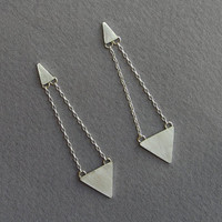 Dangle Triangle Earrings - Geometric Earrings - Sterling Silver Post