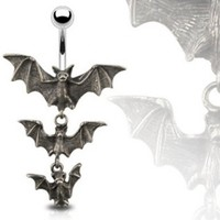 "Gothic Tri-Vampire Bats Dangle Navel Ring - 14GA 3/8"" Long:Amazon:Jewelry"