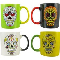 Set Of 4 DAY OF THE DEAD Sugar Skull Ceramic Coffee Mugs:Amazon:Kitchen & Dining