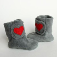 Valentine Heart Polar Fleece Baby Booties in by handmadetherapy