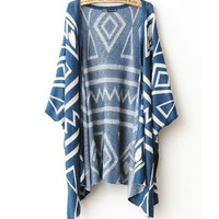 A 082605 Geometric Shawl Loose Sweater Coat