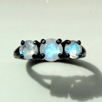 Extremely Fiery Round Cut Moonstone Three Stone Ring in Oxidized Sterling Custom Made in Your Size