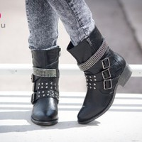 Bumper Harper-03 Black Studded Buckle Mid Calf Boots (Black) - Shoes 4 U Las Vegas