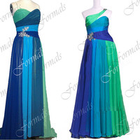 Strapless / One Shoulder Sweetheart Chiffon Blue Long Prom Dresses, Blue Evening Gown, Wedding Party Dresses, Formal Gown