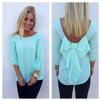 Mint Bow Back 3/4 Sleeve Blouse