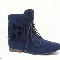 Women's Ankle Mid-Calf  Round Toe Oxford Fringe Flat Bootie Shoes NEW 5.5 - 11
