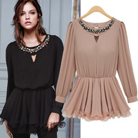 A 082727 Flounced waist round neck long-sleeved shirt
