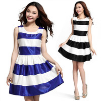 A 091216 fashion stripes stitching Slim Dress