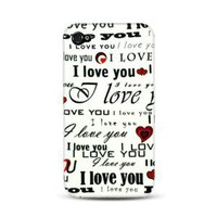 iPhone 4 Graphic Rubberized Shield hard Case - I Love You ( White )