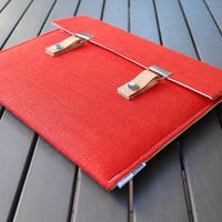 iPad Mini Case / iPad Mini Cover / Padded iPad Mini Case / iPad Mini Case with Leather Strap - Burnt Red Linen