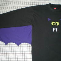 Bat Shirt with batwings and bat applique face Your choice of colors and size GO BATTY