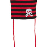 Black & Red Stripe Skull Pom Pom Beanie