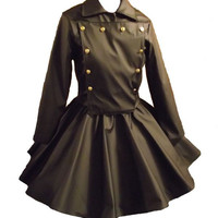Gothic Jacket Skirt Goth Cosplay Lolita Black Vinyl Military Jacket and Circle Skirt Custom Size Plus Size