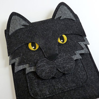 iPad mini case - Cat in anthracite felt