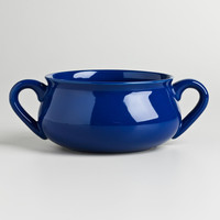 Navy Double-Handled Soup Crock