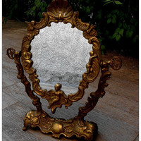 French antique  solid bronze Vanity Mirror with by PARISOUIPARIS