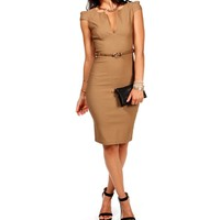 Mocha Cap Sleeve Midi Pencil Dress