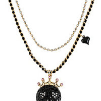 BetseyJohnson.com - BLACK LACE SKULL HEART PENDANT BLACK